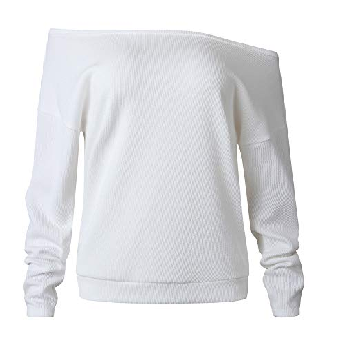 Cold Shoulder Knits Top, Duseedik Fashion Women Knitted Solid Long Sleeve Off Shoulder T-Shirt Tops Sweater Blouse (White, -