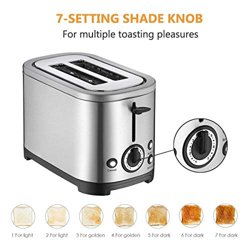 2 Slice Toaster, 700W Stainless Steel Double-Slot Toaster wi