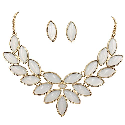 Gypsy Jewels Unique Cluster Bib Statement Boutique Style Gold Tone Necklace & Earrings Set - Assorted Colors (White) ()