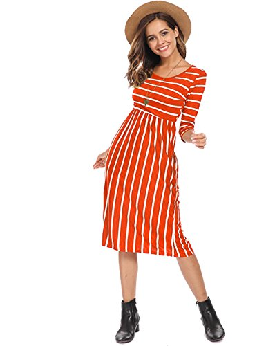 Halife Women Short Sleeve Round Neck Summer Casual Flared Midi Dress Orange,M