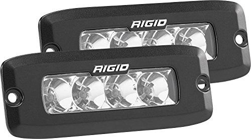 (Rigid Industries 925113 SR-Q Pro Flood Light; Flush Mount; 5 in.; Hybrid; 20 Degree; 4 White LEDs; Black Rectangular Housing; Set Of 2;)
