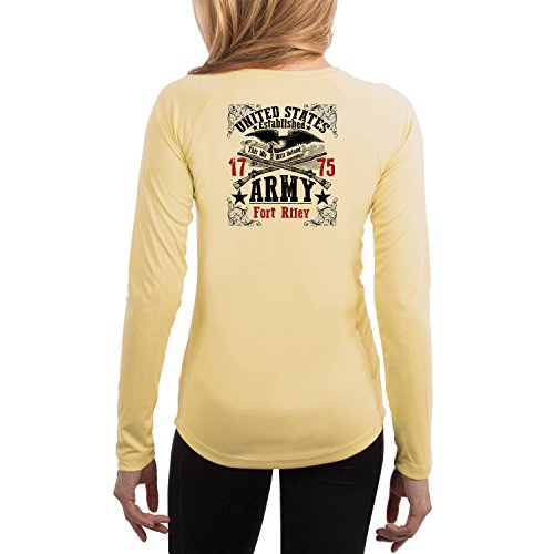 Fort Riley Army Base (Dead Or Alive Clothing U.S. Army Fort Riley Women's UPF 50+ Long Sleeve T-Shirt Small Pale Yellow)