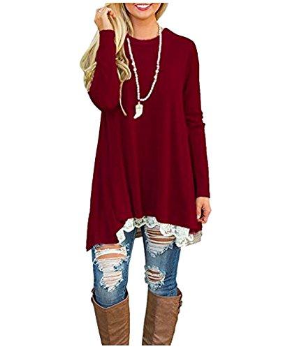 a Femme Mini Blouse Casual ZhuiKun Rouge Manches Dentelle Tunique Longues Vin Chemise Top Robe tfavxwgq
