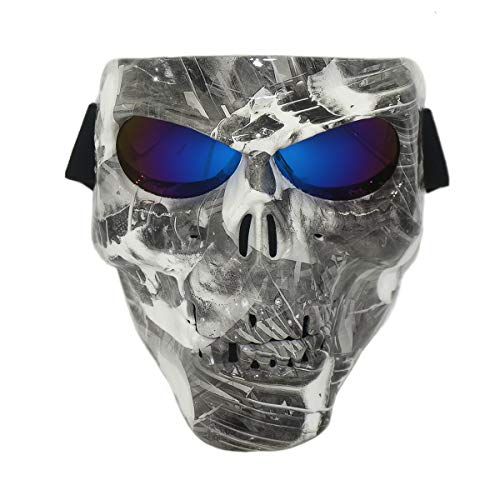 Vhccirt Protective Mask Skull/Zombie/Reaper Face Airsoft/Paintball/Motorcycle Racing Helmet Mask Halloween Spooky DecorCosplay Mask Scary Skull Blue Lenses