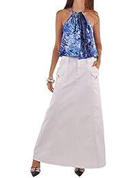 Casual White Long Denim Skirt