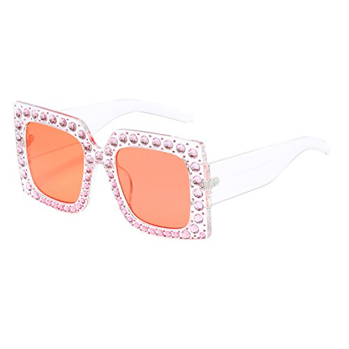 Cuadrado 7 sol F Gafas Mujer Sparkling Oversized Grande Feicuan Crystal de Elegant para lentes 10wEO