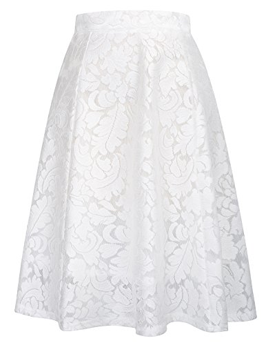 Women's Floral Midi Skirts High Waisted A-Line Cocktail Skirt Size XL ()