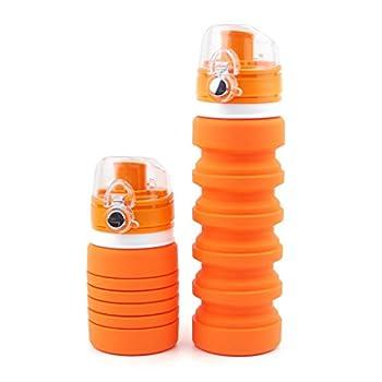 TOPTIP Collapsible Silicone Water Bottle - Medical Grad, BPA Free Silicone Foldable Reusable Portable Drinking Bottles / Perfect for Traveler Walking Camping Hiking 17oz-500ml (Orange)