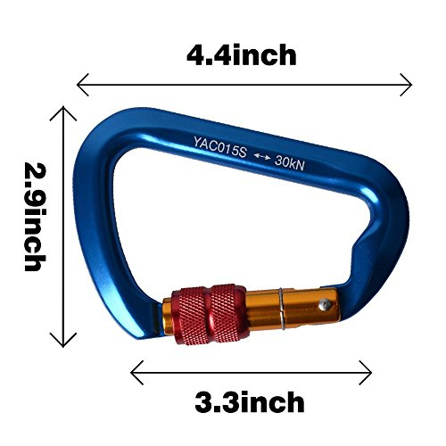 Climbing Gear Aluminum Screw Carabiner 3 Pack, AYAMAYA Locking Climbing Carabiners, Ultra Tech 30KN Aluminum Screwgate Carabiner Screw Lock D ring Chain Clip Hook Outdoor Buckle for Rope Tree Climbing