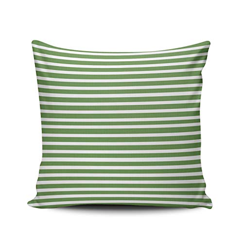(MUKPU Fashion Home Decoration Design Throw Pillow Case Pin Striped Green and White Pinstriped 16X16 Inch Square Custom Pillowcase Cushion Cover Double Sided Printed (Set of 1))