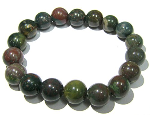 CRYSTALMIRACLE BEAUTIFUL BLOODSTONE POWER BEADED ROUND BRACELET CRYSTAL GEMSTONE FASHION ACCESSORY JEWELRY MEN WOMEN GIFT HEALING HEALTH POSITIVE ENERGY POWERFUL WELLNESS WICCA by CRYSTALMIRACLE