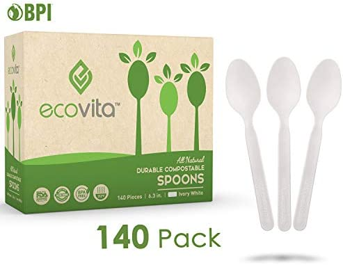 Compostables Biodegradable desechables cubiertos cuchara – 140 ...