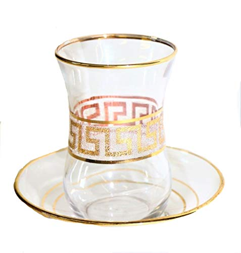 (Turkish Tea Glass Set of 6 Cups with Matching Saucers Gold Embossed Art Glass (Gold Greek Key))