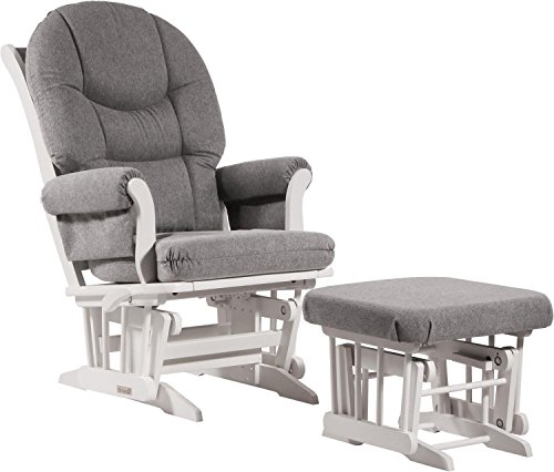(Dutailier Sleigh Glider-Multi-Position Recline and Nursing Ottoman Combo, White/Dark Grey)
