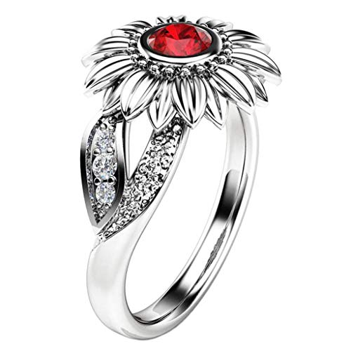 Aunimeifly Engagement Gift Sunflower Women's Cubic Zircon Rings with Two Side Tone Silver Leaf Jewelry - Tiered Leopard