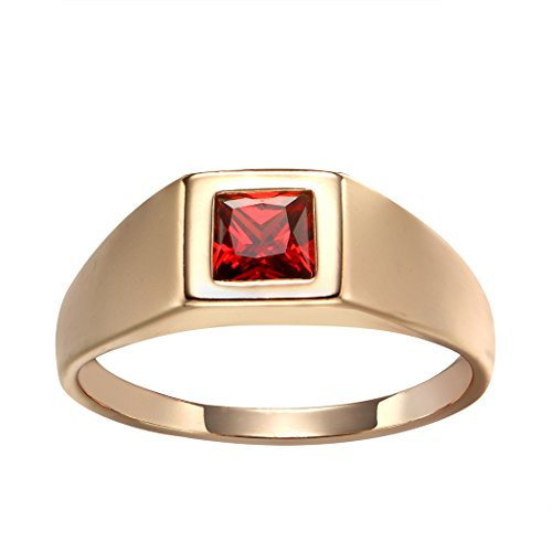 Romantic Time 18k Rose Gold Plated Kids Red Crystal Finger Ring (3.5) (Ring Red Designer Gold)