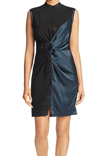 Dark Knot Black Cocktail Media Green Front Womens Mixed DKNY Dress qwgxI8g0