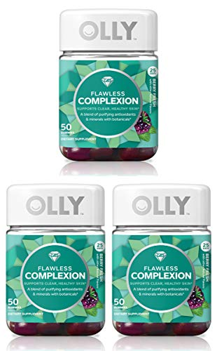 Olly PGFHZETA Flawless Complexion Gummy Supplement, with antioxidants; Berry Fresh, 3 Pack, (Total 150 Count)