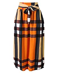 Zimaes-Women Patterned Belt Big Swing Plus-Size Pleated African Ankle Length Skirts