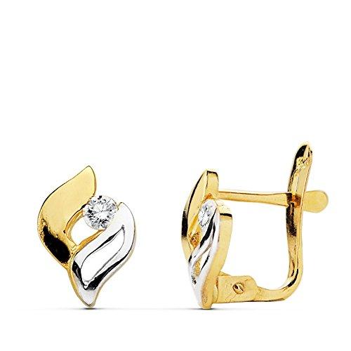 Boucled'oreille 18k 9mm bicolor d'or. zircons première communion [AB0735]