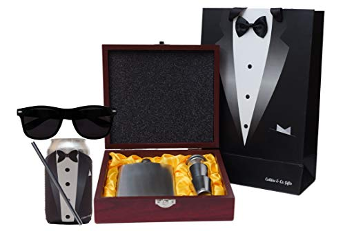 Collins-Co-Groomsmen-Gifts-for-Wedding-Groomsmen-Proposal-Set-of-5-Items-Wedding-Party-Gifts-Bundle-Flask-in-Wooden-Box-Customized-Coozie-Sunglasses-Stainless-Steel-Straw-and-Tuxedo-Gift-Bag