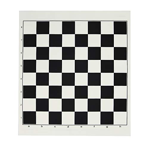 "13"" Silicone Tournament Chess Play Board, Portable Roll-Up Travel Game Mat, Classic Black and Cream"