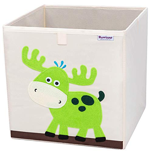 Hurricane Munchkin Collapsible Toy Storage Box | Cube Bin Organizer for Children Toys, Stuffed Animals, Books & Clothes (13 x 13 x 13) | Great for Nursery, Kids Bedroom & Playroom - Moose