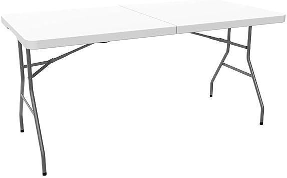 Leogreen Table Pliante Transportable Table De Camping 152 X 71 5 Cm Blanc Pliable En Deux Matériau Hdpe Dimensions Du Produit Replié 76 X