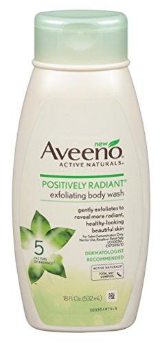 Aveeno Positively Radiant Body Wash Exfoliating 18 Ounce (532ml) (6 Pack) (Exfoliating Aveeno Wash Body)