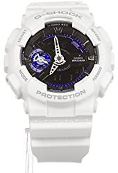 Casio G-Shock GMAS110CW-7A3 Fashion Watch Cool White w/ Black/Blue Face