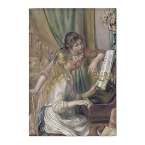 Renoir Jeunes Filles Au Piano - AbundanceHomeDesign Fabric Prints Poster Masterpiece Painting Fine Art Work Wall Hanging Cloth Banner Flag Tapestry - Jeunes Filles Au Piano by Pierre-Auguste Renoir (Medium-23.62