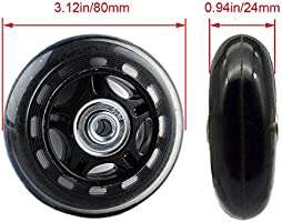 Luggage Suitcase Wheel Replacement Repair Kit 1 Pair with ABEC 608zz Bearings Gekufa Inline Skate Wheels 70mm x 24mm