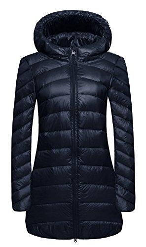WenVen Women's Hooded Packable Ultra Light Weight Long Down Jacket(Navy, US S)