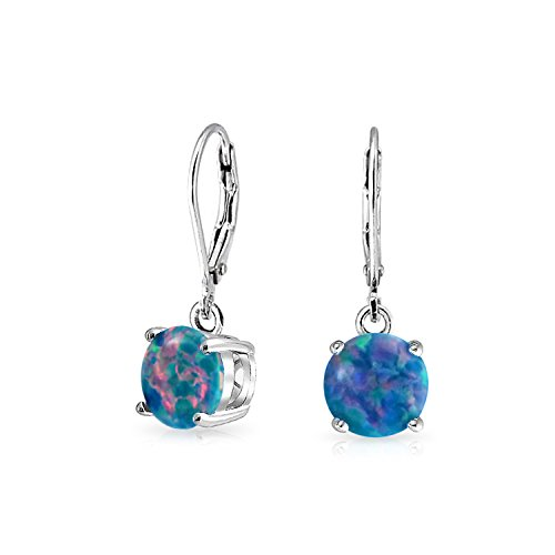 Simple Round Solitaire Black Created Opal Leverback Drop Dangle Earrings For Women 925 Sterling Silver (Sterling Earring Created Silver Opal)