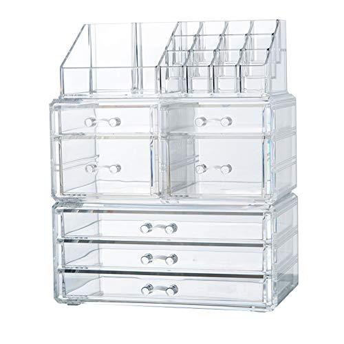 Buyalot Acrylic Storage Box, Cosmetics Makeup Jewelry Big Storage Case Display Case, 2 Piece Set, 7 Drawers