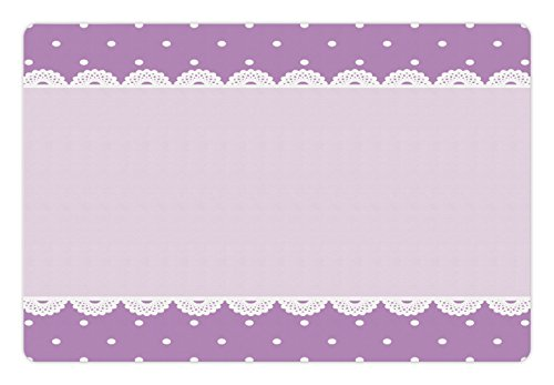 Price comparison product image Mauve Pet Mats for Food and Water by Ambesonne, Old Fashioned Ornate Lace Pattern with Classical Polka Dots Background Image, Rectangle Non-Slip Rubber Mat for Dogs and Cats, Lilac Lavender
