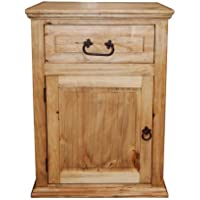 Econo One Drawer One Door Nightstand Western Cabin Lodge Solid Wood Bedroom