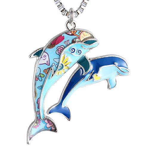 - Luckeyui Blue Dolphin Necklaces Pendants for Women Birthday Gift Unique Enamel Sea Animal Charm Jewelry