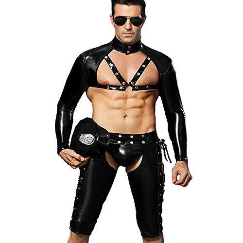 Sex icon Mens Gay Police Officer Cosplay PU Leather Vest Briefs Cap Uniform Set (M, Black)
