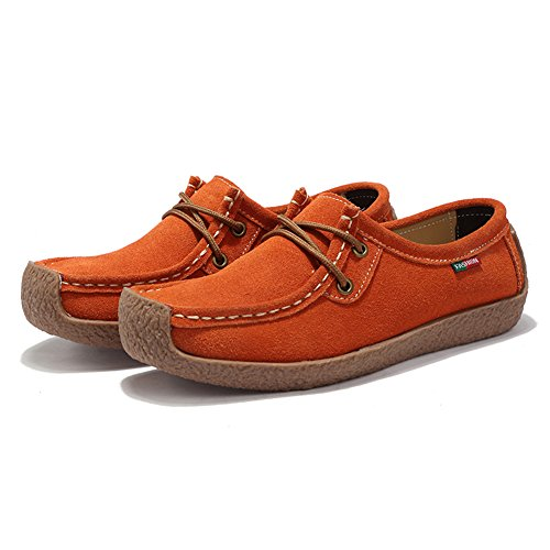 STQ Women Lace Up Suede Flats Shoes Fashion Comfort Square Toe Snail Work Sneakers 806 Orange OyDbQPrQ