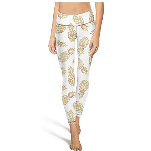 Juiertjko Long Jogging Leggings Women Gold Pineapple Clipart White Background Comfortable Workout Yoga Pant -