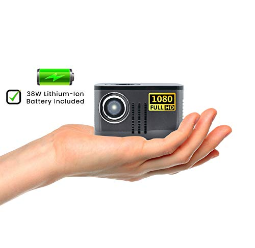 AAXA P7 Mini Projector with Battery, Native 1080P Full HD Resolution, 30,000 Hours LED Projector, Onboard Media Player, Business and...