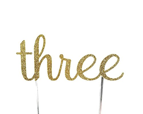 CMS Design Studio Handmade 3rd Third Birthday Cake Topper Decoration - Three - Made in USA with Double Sided Gold Glitter Stock