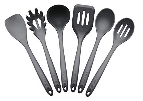 - StarPack Premium XL Silicone Kitchen Utensil Set (6 Piece), High Heat Resistant to 600°F, Hygienic One Piece Design, Large Non Stick Spatulas & Serving Utensils - Gray Black
