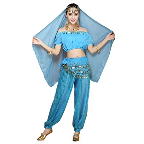 Maylong Women's Short Sleeve Belly Dancing Outfit Halloween Costume DW18 (Sky -