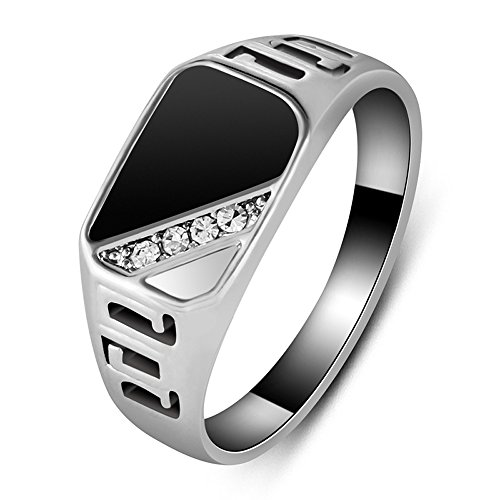 ZYAW Good Quality Man Jewelry Fashion White Gold Plated Black Enamel Men Finger Ring With CZ Diamond (12)