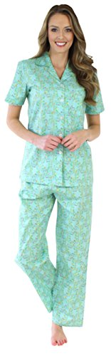 Sleepyheads Women's Sleepwear Cotton Short Sleeve Button-Up Top and Pants Pajama Set (SHCP1624-4015-LRG)
