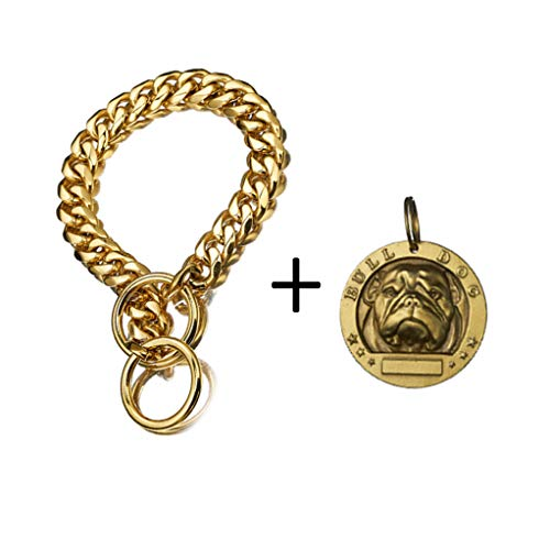 Boy&Girl Dog Choke Collar and Bull ID Tag Pendant Set - Pet Training Curb Cuban Chain 15mm Dogs Tags Collar-Ring Accessories 26Inches ()