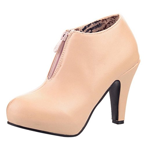 apricot Zipper Women's Boots Booties TAOFFEN 7qwnHBOx4