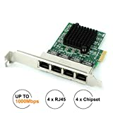 Ubit Network Card,Ethernet Adapter,Ethernet Card, Gigabit Ethernet with Heatsink Technology,PCI Express 4-Port Network